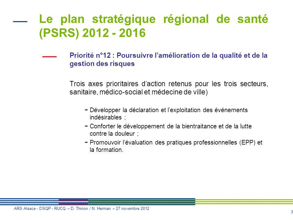 Le plan stratégique régional de santé (PSRS) 2012 - 2016