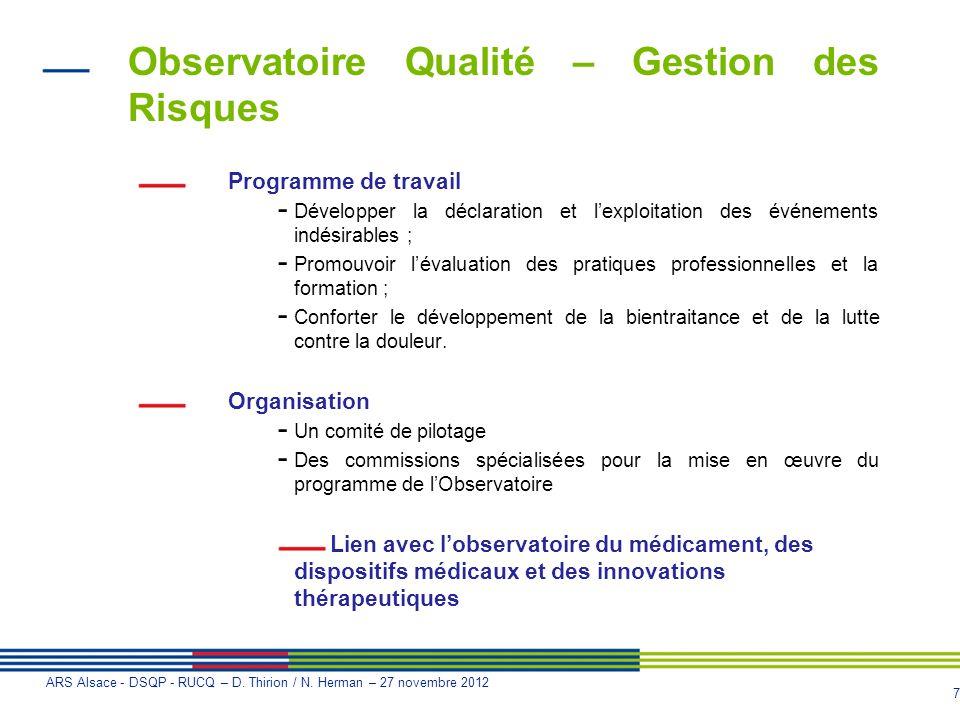 Observatoire Qualité – Gestion des Risques