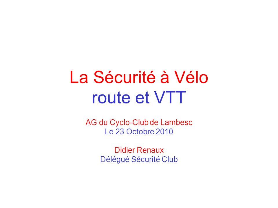 La Sécurité à Vélo route et VTT