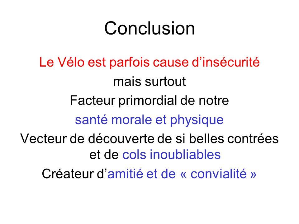 Conclusion Le Vélo est parfois cause d'insécurité mais surtout