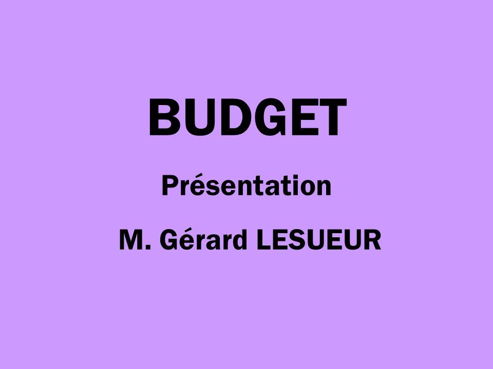 BUDGET Présentation M. Gérard LESUEUR
