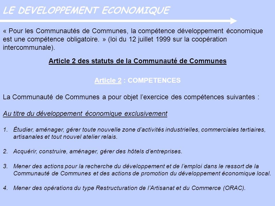 Article 2 des statuts de la Communauté de Communes