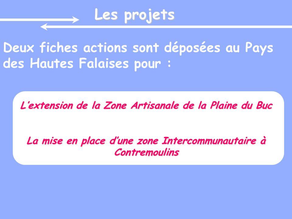 Les projets Deux fiches actions sont déposées au Pays des Hautes Falaises pour : L'extension de la Zone Artisanale de la Plaine du Buc.