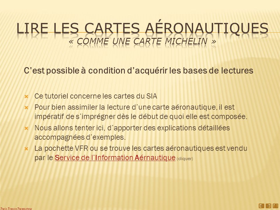 Lire les cartes aéronautiques « comme une carte Michelin »