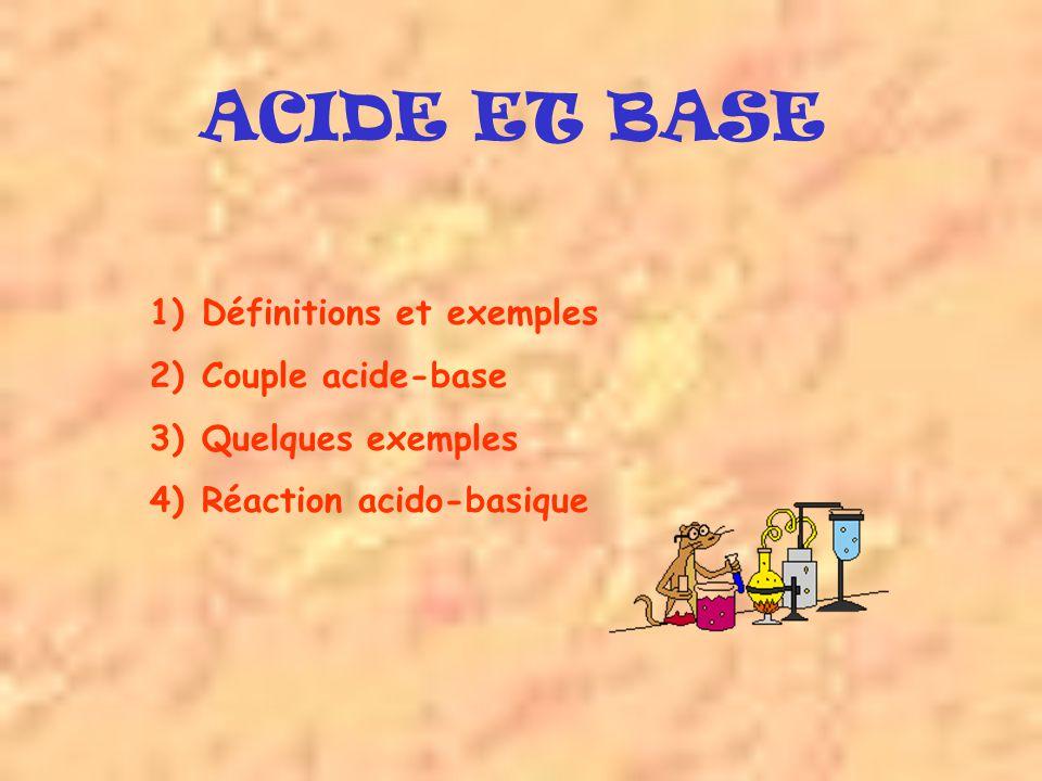 ACIDE ET BASE Définitions et exemples Couple acide-base