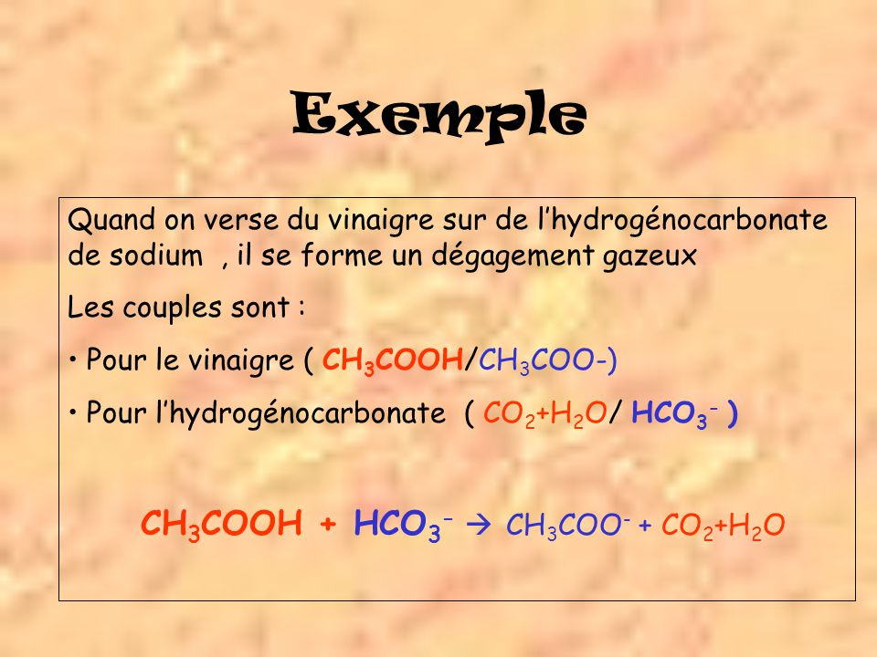 CH3COOH + HCO3-  CH3COO- + CO2+H2O