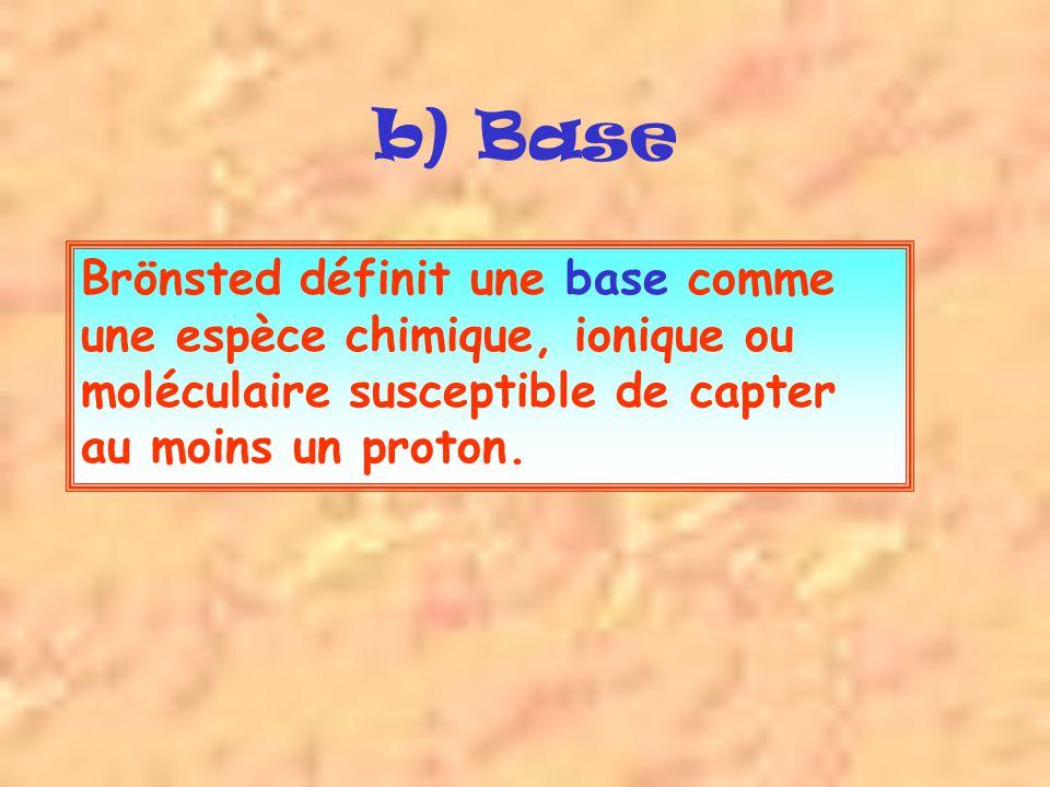 b) Base Brönsted définit une base comme une espèce chimique, ionique ou moléculaire susceptible de capter au moins un proton.