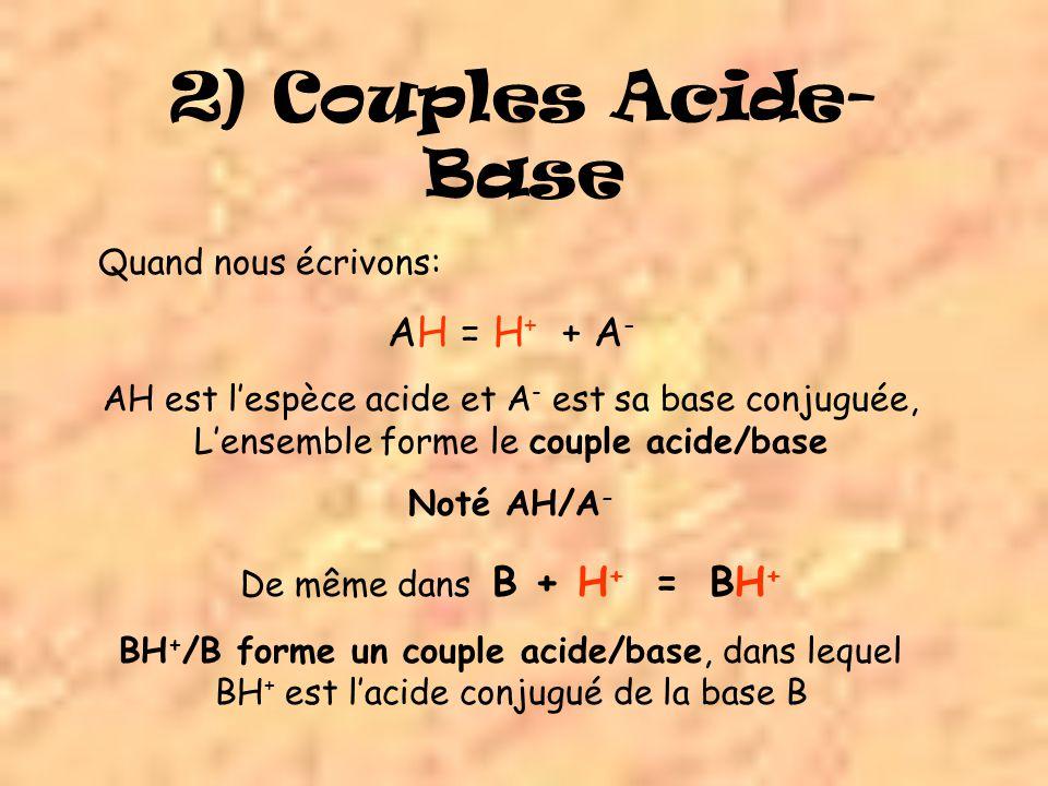 2) Couples Acide-Base AH = H+ + A- Quand nous écrivons: