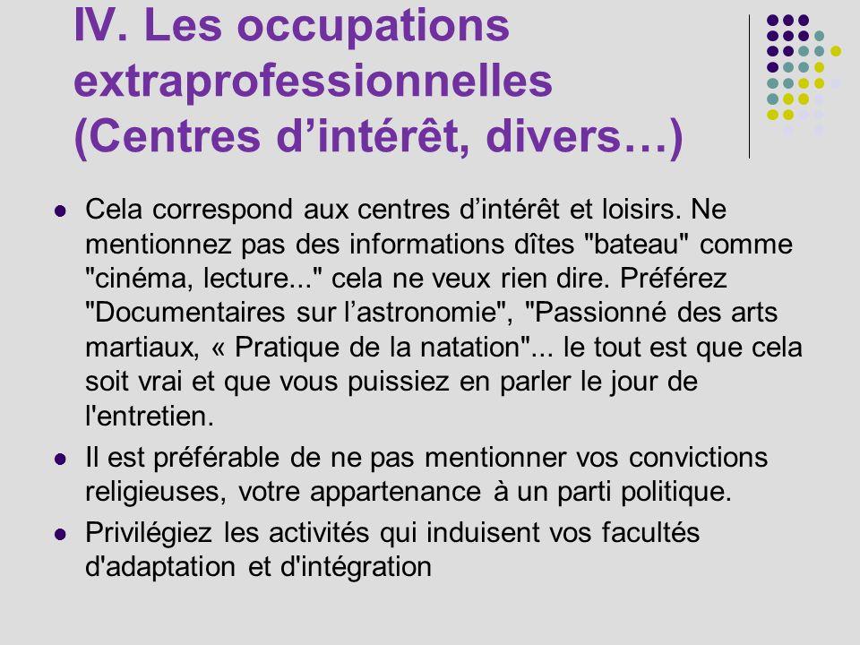 IV. Les occupations extraprofessionnelles (Centres d'intérêt, divers…)