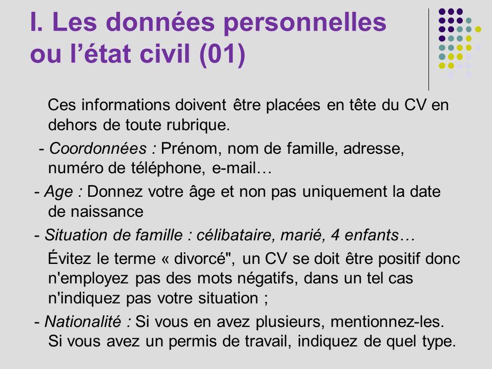 I. Les données personnelles ou l'état civil (01)