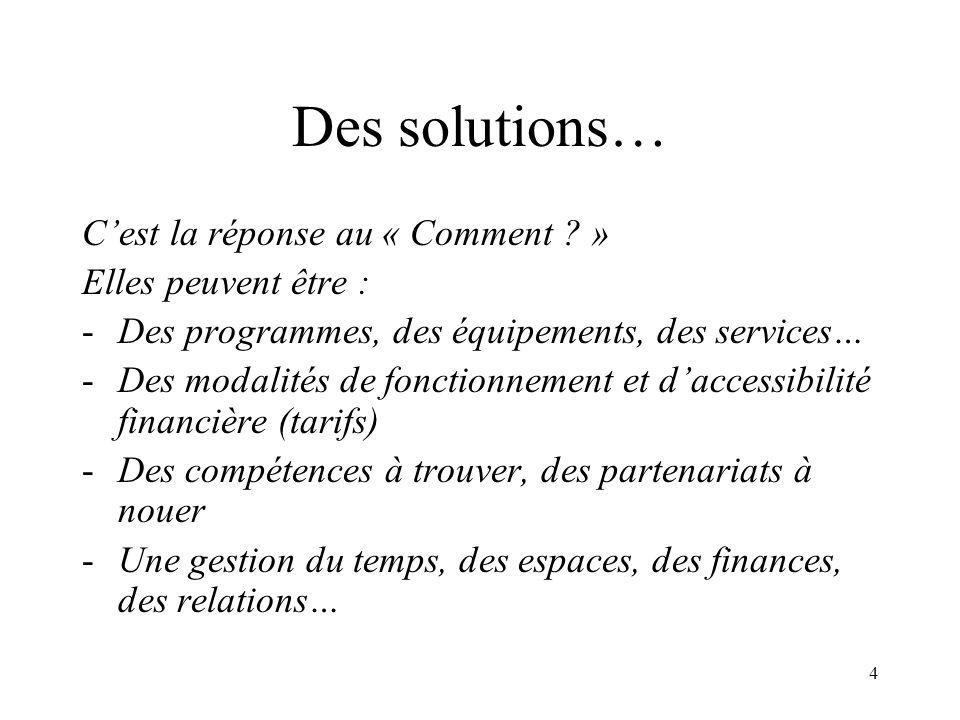 Des solutions… C'est la réponse au « Comment » Elles peuvent être :