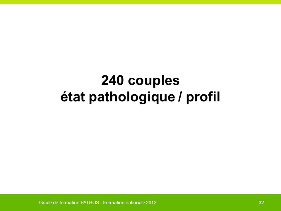 240 couples état pathologique / profil
