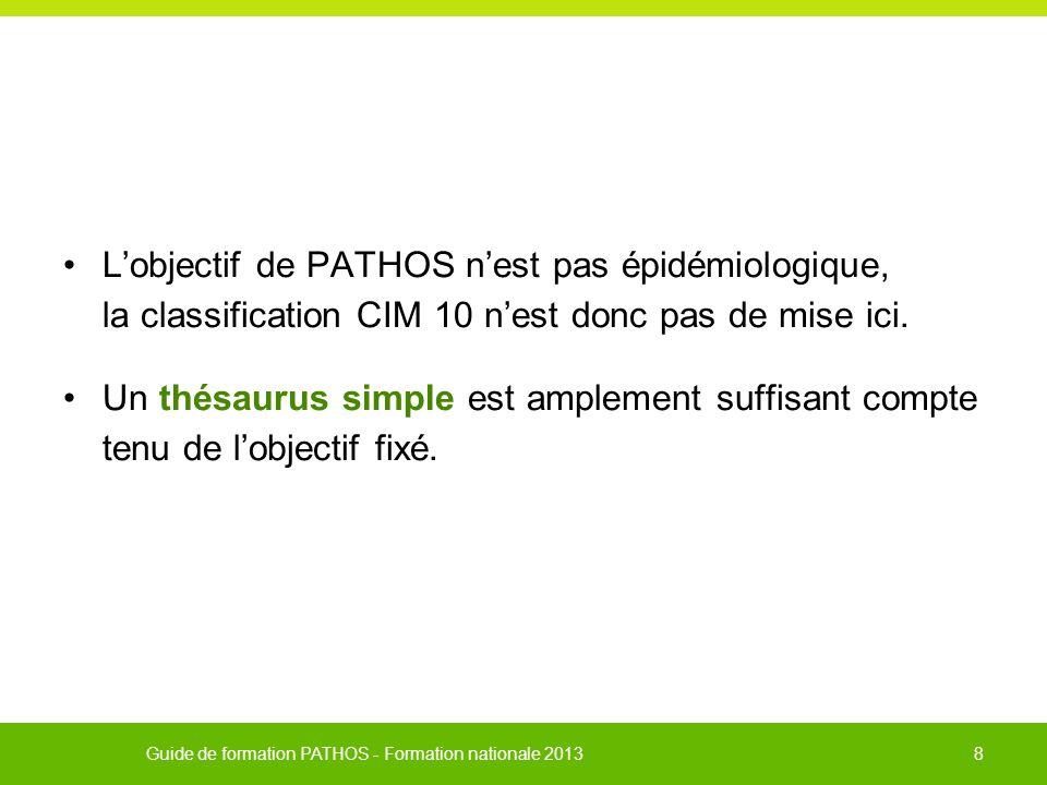 L'objectif de PATHOS n'est pas épidémiologique, la classification CIM 10 n'est donc pas de mise ici.