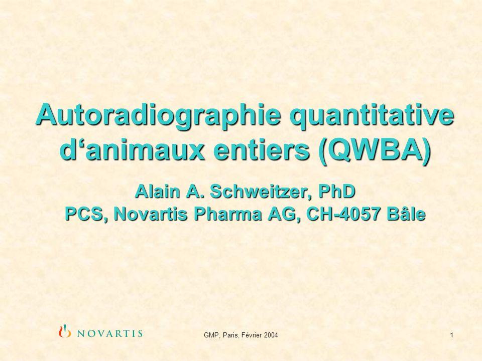 Autoradiographie quantitative d'animaux entiers (QWBA) Alain A