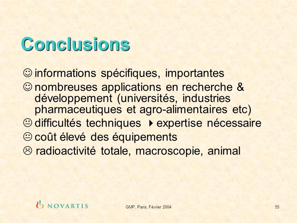 Conclusions informations spécifiques, importantes