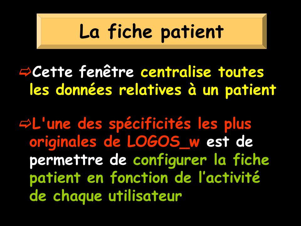 La fiche patient Cette fenêtre centralise toutes les données relatives à un patient.