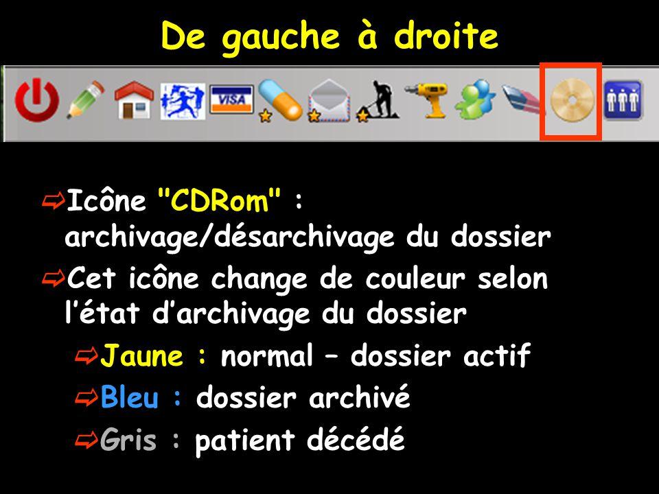 De gauche à droite Icône CDRom : archivage/désarchivage du dossier