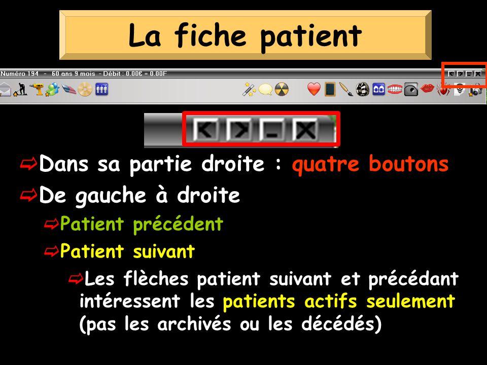 La fiche patient Dans sa partie droite : quatre boutons