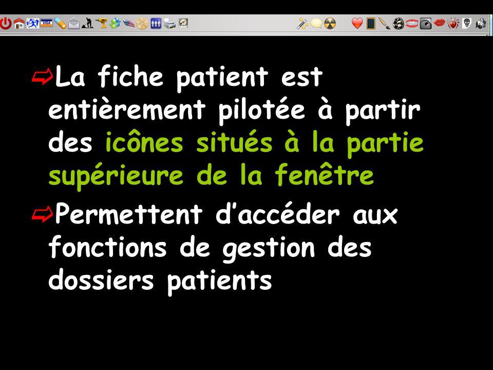 La fiche patient est entièrement pilotée à partir des icônes situés à la partie supérieure de la fenêtre