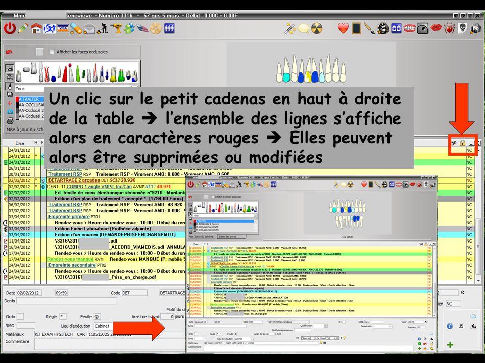 Un clic sur le petit cadenas en haut à droite de la table  l'ensemble des lignes s'affiche alors en caractères rouges  Elles peuvent alors être supprimées ou modifiées