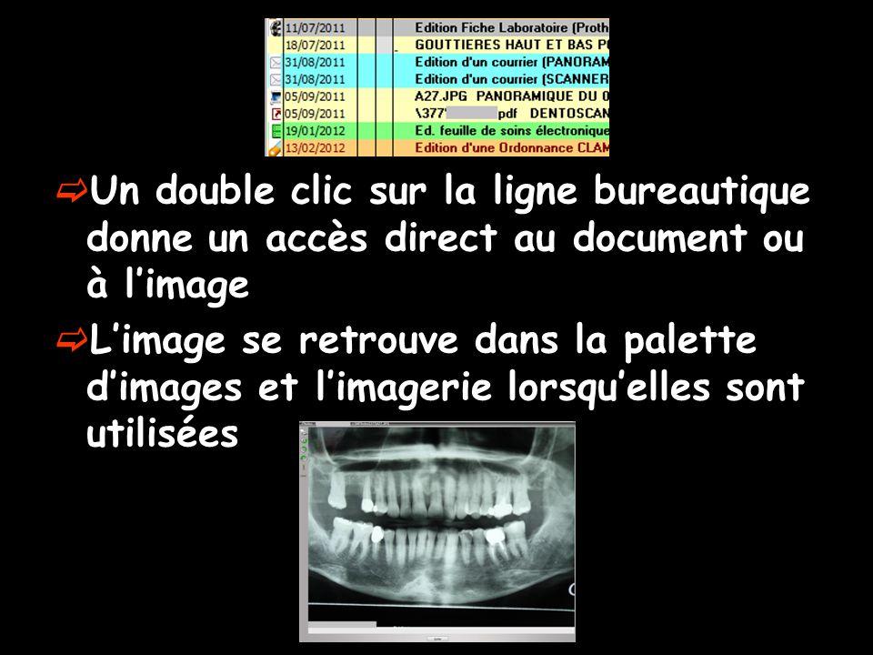 Un double clic sur la ligne bureautique donne un accès direct au document ou à l'image