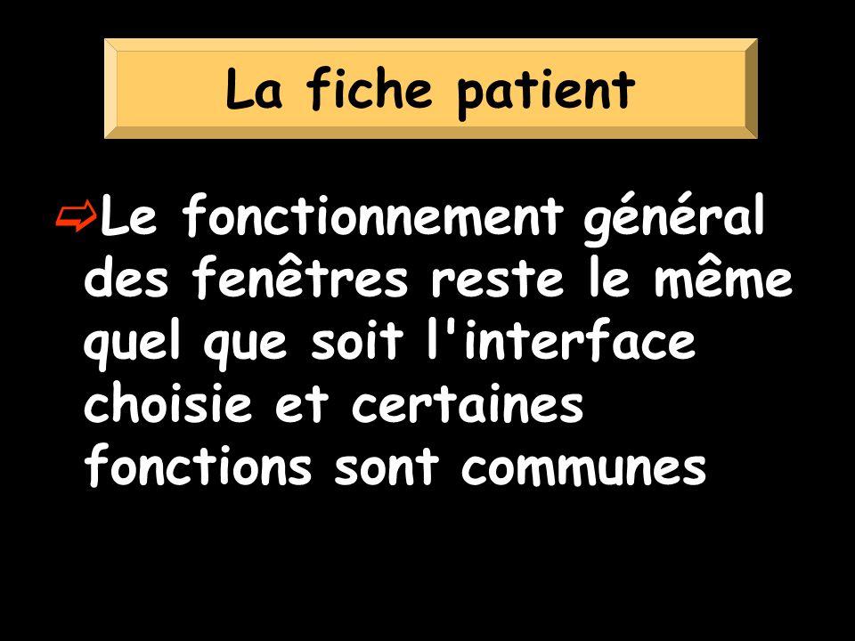 La fiche patient Le fonctionnement général des fenêtres reste le même quel que soit l interface choisie et certaines fonctions sont communes.