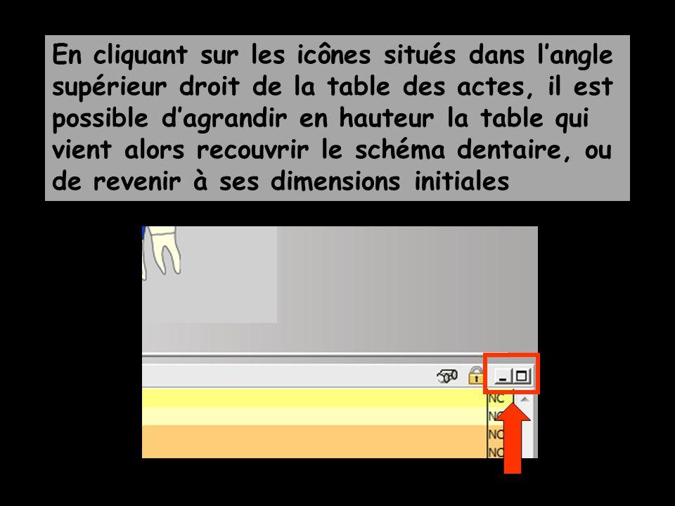 En cliquant sur les icônes situés dans l'angle supérieur droit de la table des actes, il est possible d'agrandir en hauteur la table qui vient alors recouvrir le schéma dentaire, ou de revenir à ses dimensions initiales