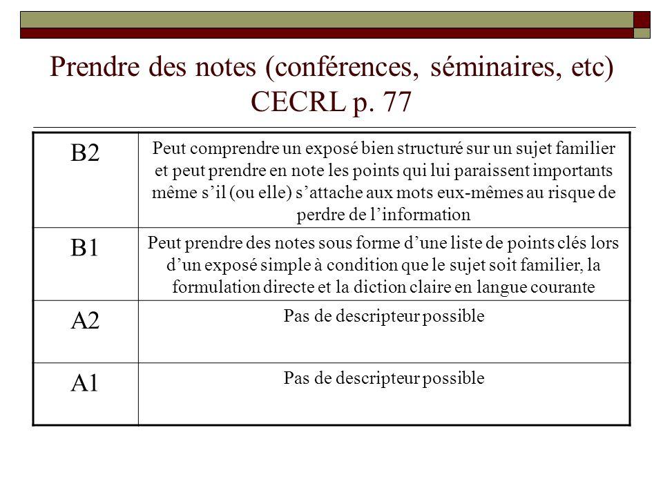 Prendre des notes (conférences, séminaires, etc) CECRL p. 77