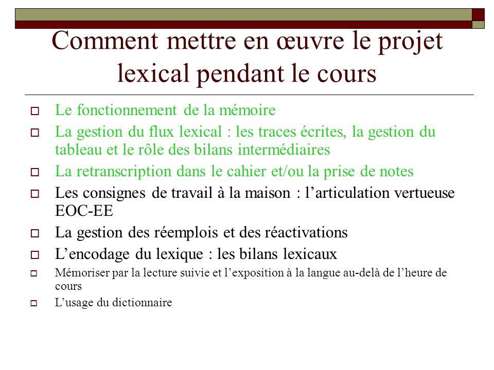 Comment mettre en œuvre le projet lexical pendant le cours