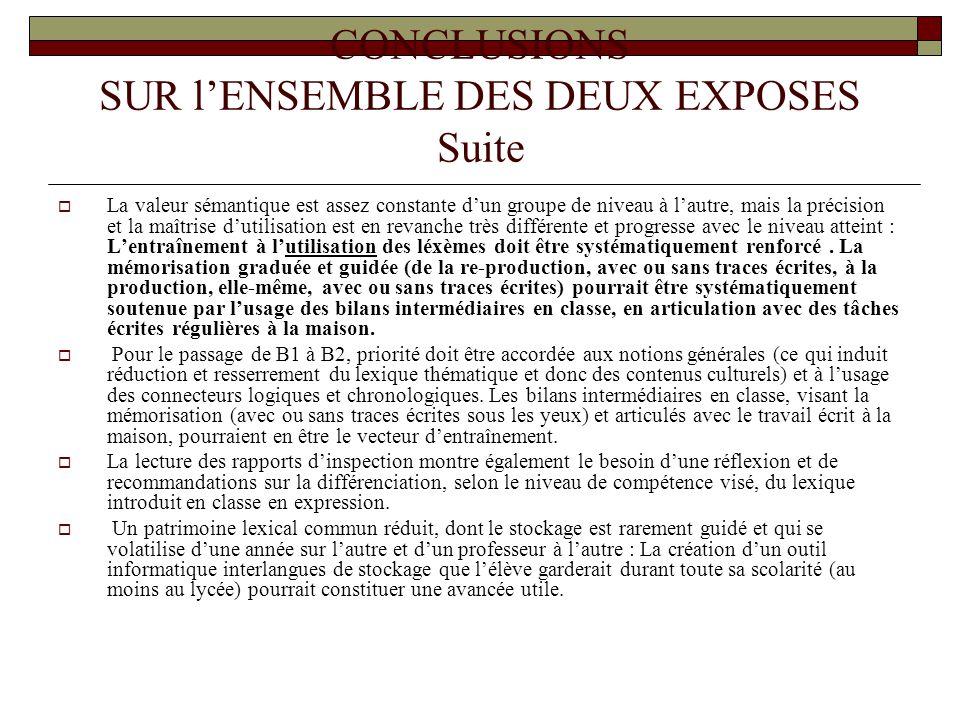 CONCLUSIONS SUR l'ENSEMBLE DES DEUX EXPOSES Suite