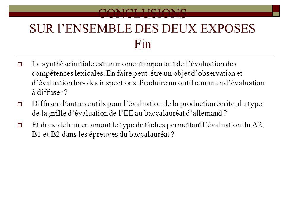 CONCLUSIONS SUR l'ENSEMBLE DES DEUX EXPOSES Fin