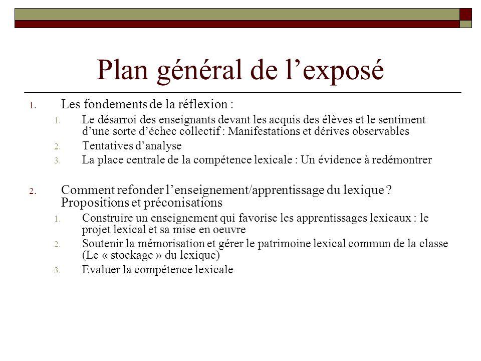 Plan général de l'exposé
