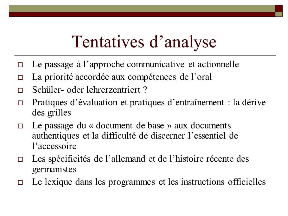 Tentatives d'analyse Le passage à l'approche communicative et actionnelle. La priorité accordée aux compétences de l'oral.