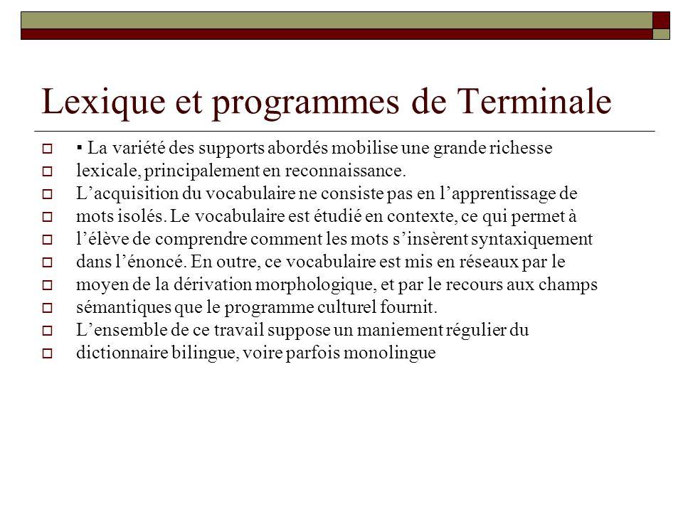 Lexique et programmes de Terminale