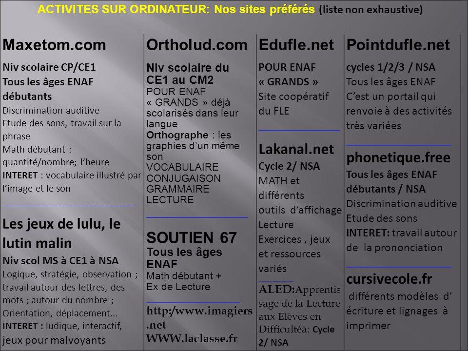 ACTIVITES SUR ORDINATEUR: Nos sites préférés (liste non exhaustive)