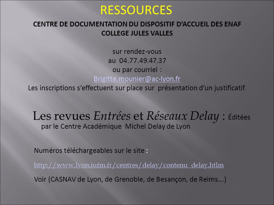 CENTRE DE DOCUMENTATION DU DISPOSITIF D'ACCUEIL DES ENAF