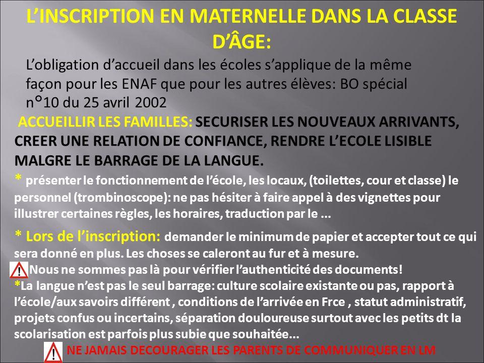 L'INSCRIPTION EN MATERNELLE DANS LA CLASSE D'ÂGE: