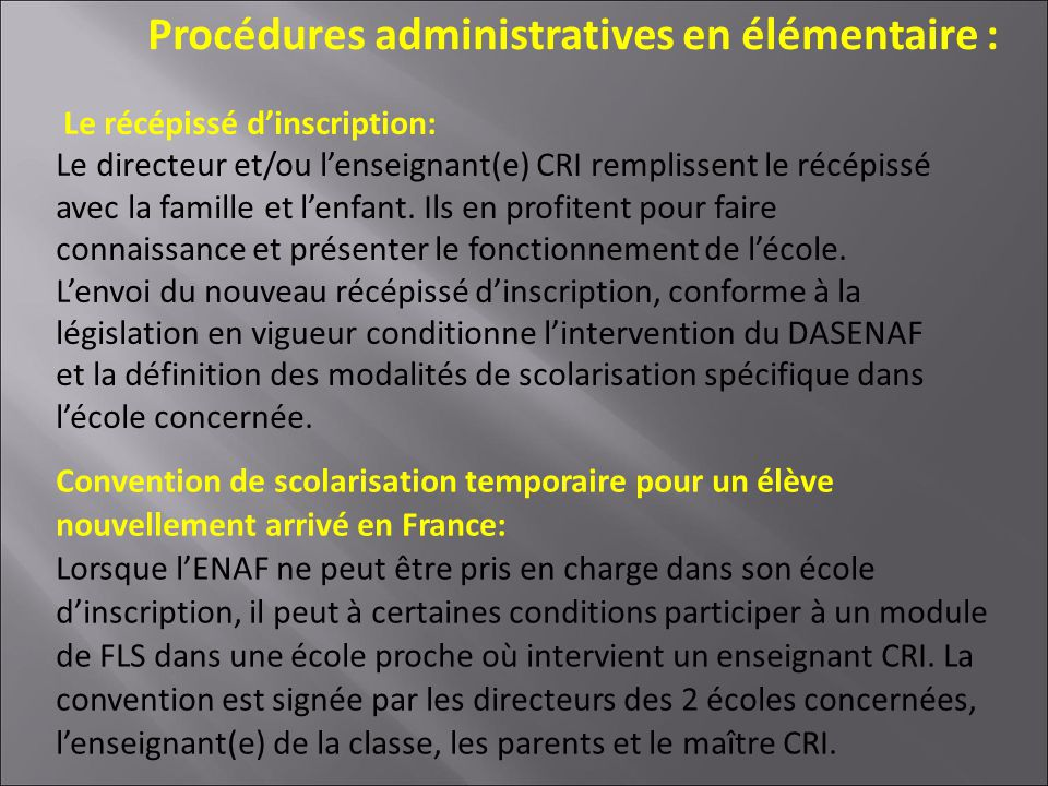 Procédures administratives en élémentaire :