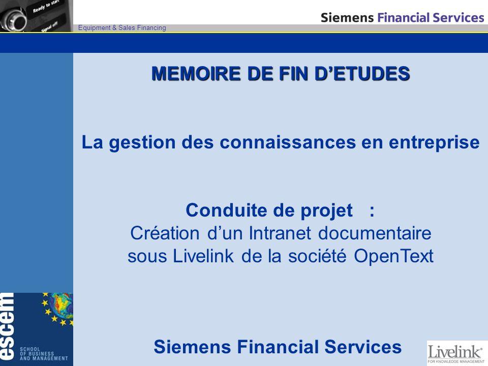 MEMOIRE DE FIN D'ETUDES Siemens Financial Services