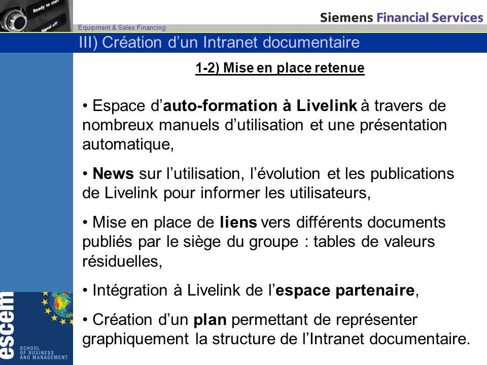 1-2) Mise en place retenue