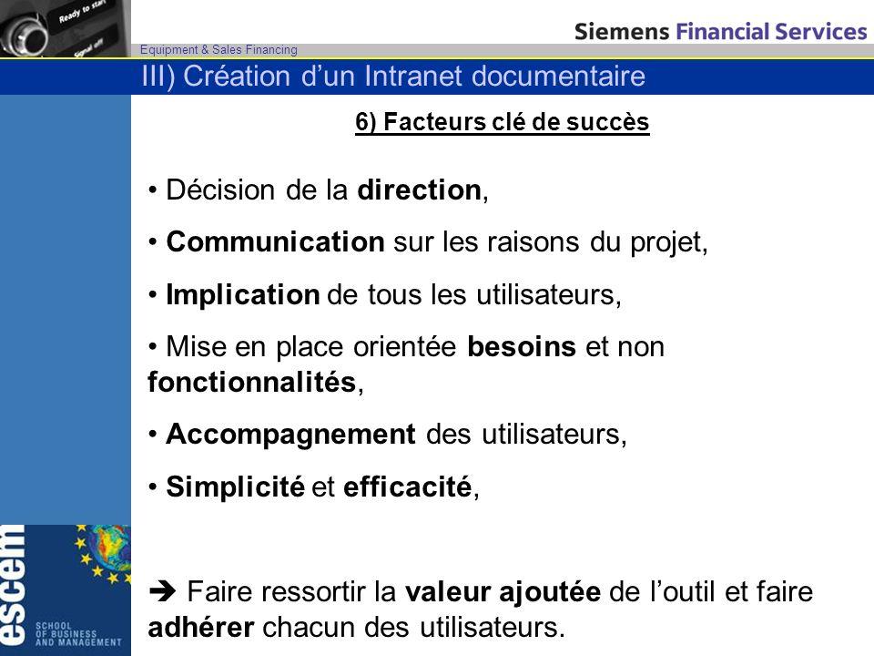 6) Facteurs clé de succès