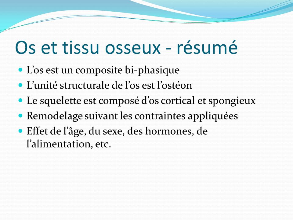 Os et tissu osseux - résumé