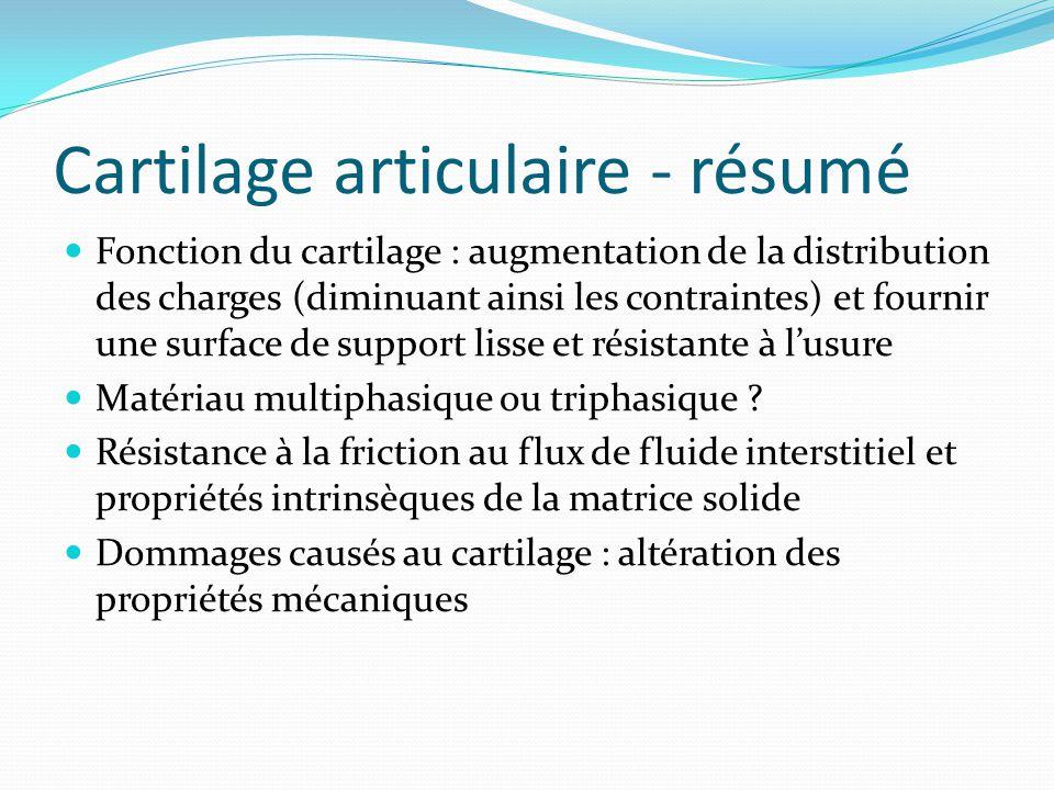 Cartilage articulaire - résumé