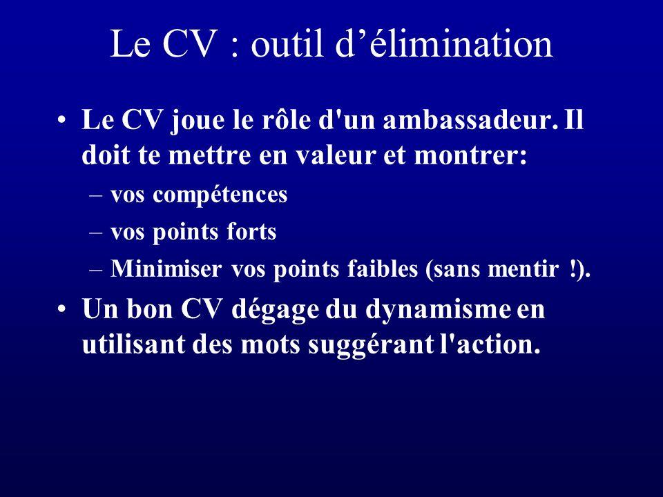 Le CV : outil d'élimination