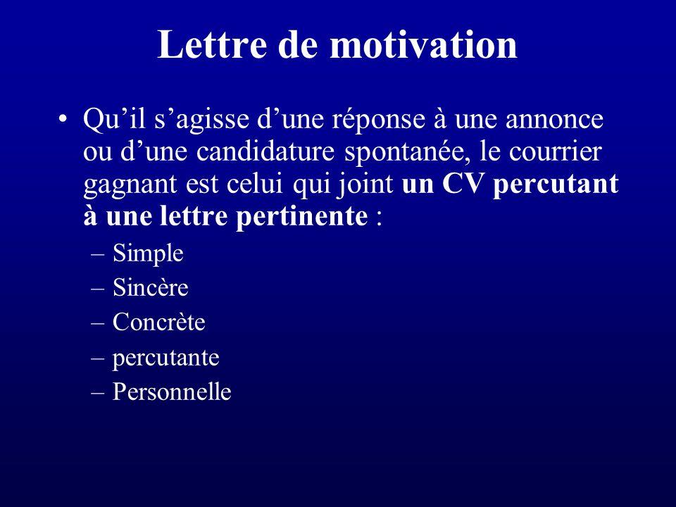 la recherche de stage le cv la lettre de motivation