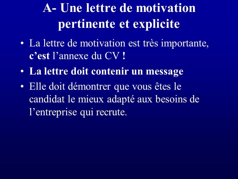 A- Une lettre de motivation pertinente et explicite