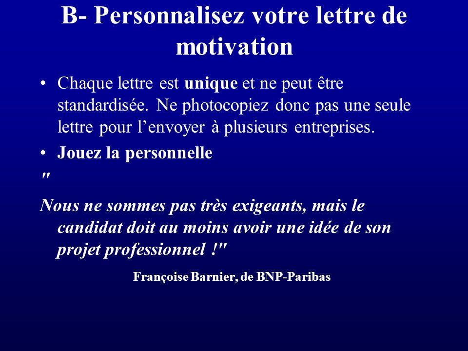 B- Personnalisez votre lettre de motivation