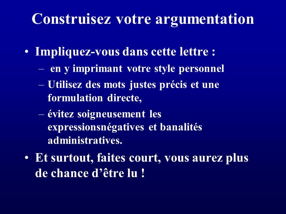 Construisez votre argumentation
