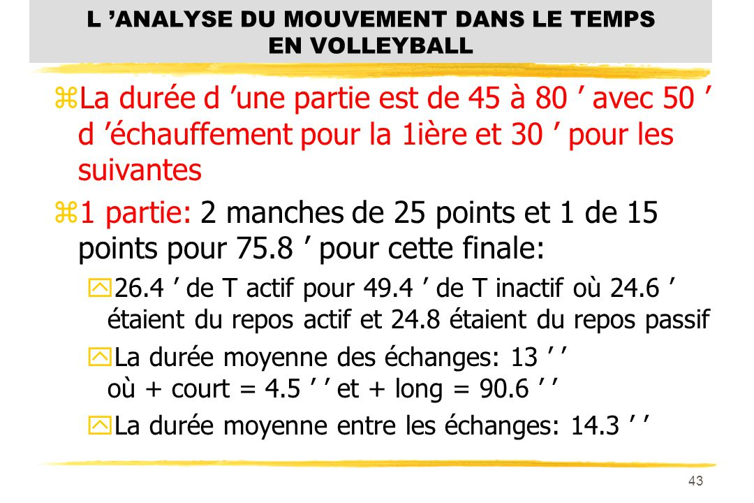 L 'ANALYSE DU MOUVEMENT DANS LE TEMPS EN VOLLEYBALL