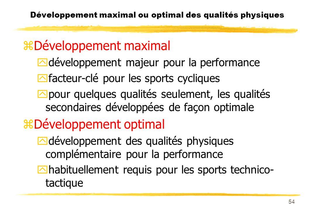 Développement maximal ou optimal des qualités physiques
